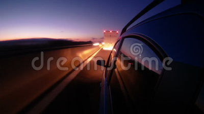 Driving in night highway timelapse stock video footage