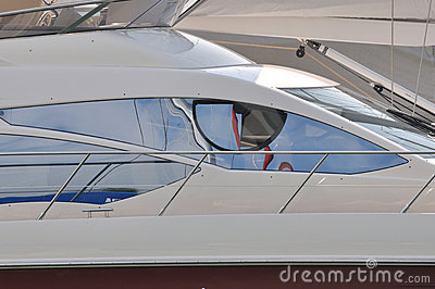 Driving room window of yacht
