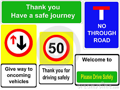 Driving safely signs