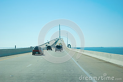 Driving on Sunshine Skyway Bridge over Tampa Bay