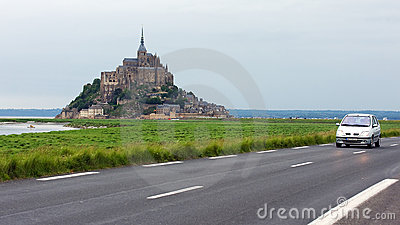 Driving to Mont St Michel in Normandy
