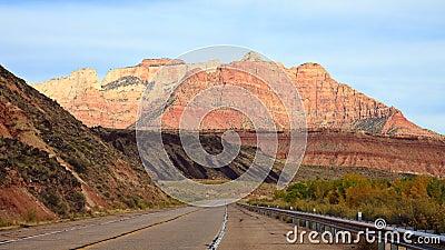 Driving towards Zion Canyon