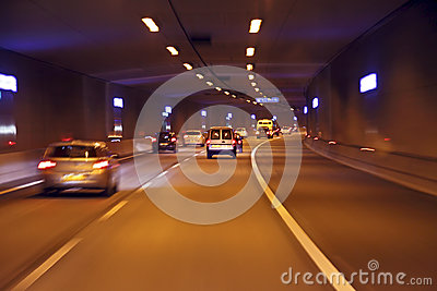 Driving through a tunnel in Netherlands