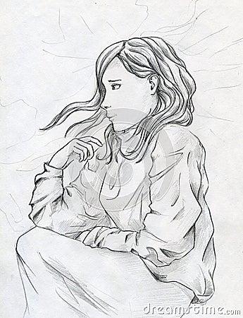 Droevig meisje