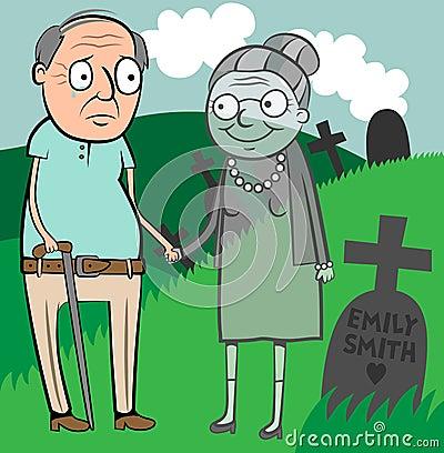 Droevige oude mensenweduwnaar
