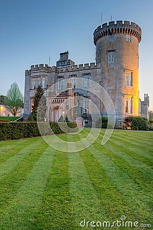 Dromoland Castle at dusk in west Ireland.
