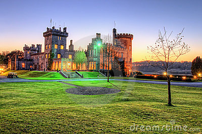Dromoland Castle during the night at sunset.