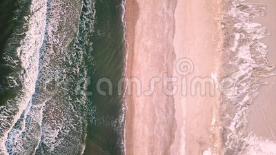 Drone footage of frosty Atlantic waves stock video footage