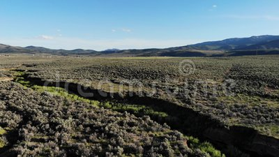 Drone footage over High Desert Gulch, California stock video footage