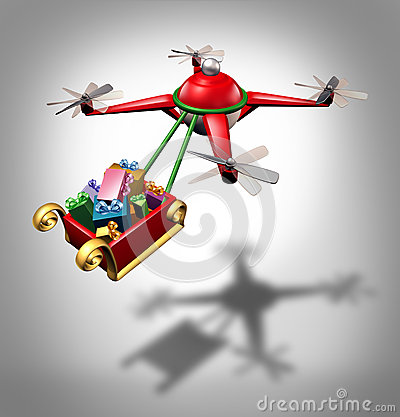 Free Drone Holiday Delivery Royalty Free Stock Image - 45314606