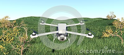 Drone quadcopter. 3D illustration Stock Photo
