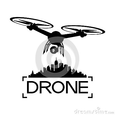 Drone with a video camera Vector Illustration