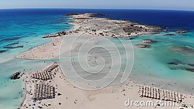 Drone video of Elafonissi beach, Crete, Greece stock video