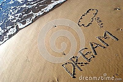 Droom die op zand wordt geschreven