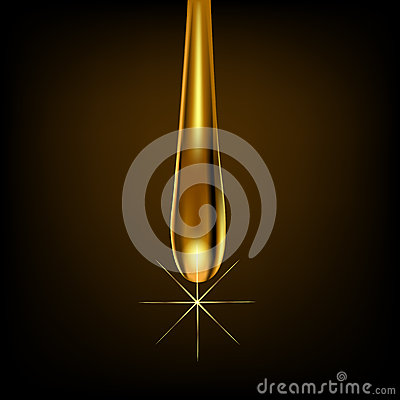 Drop gold on brown background with reflection