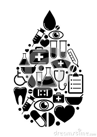 Drop of medical icons
