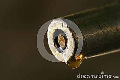 A drop of precious oil macro