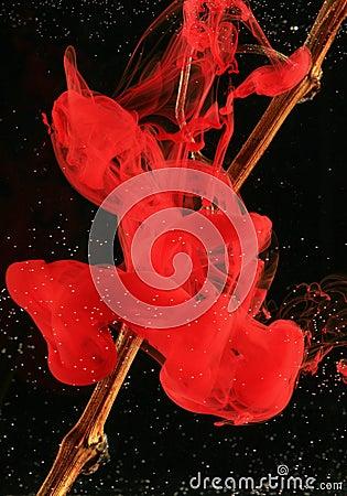 Drop of red ink