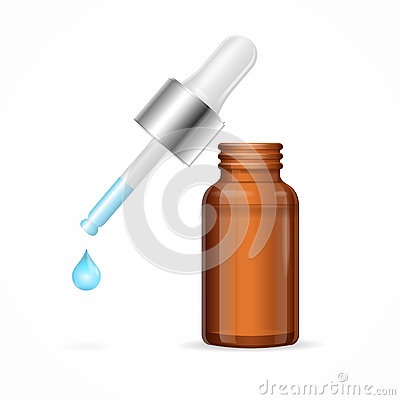 Free Dropper With Droplet Fluid And Brown Medicine Glass Bottle. Vector Stock Photography - 73199552