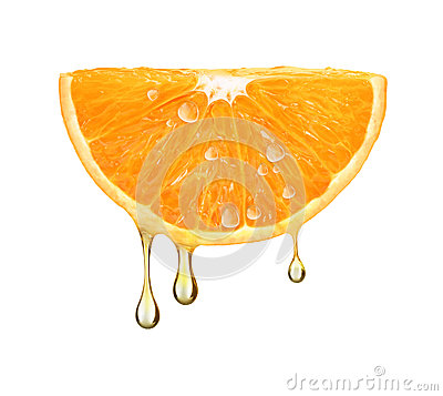 Free Drops Of Juice Falling From Orange Half Isolated On White Stock Image - 94193461