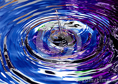 Drops of water with abstract color