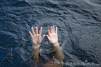 drowning hands reaching