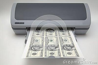 Drucker mit 1000000 Dollarscheinen