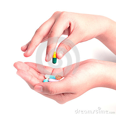 Free Drug Capsules And Pills In Hand Royalty Free Stock Photos - 49874498