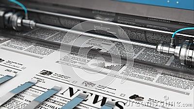 Drukkranten in typografie stock videobeelden