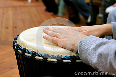 Drum circle woman hands