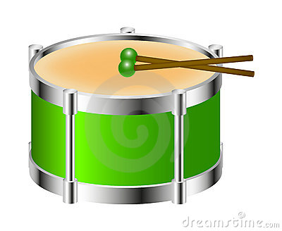 Drum instrument in green colour with drumsticks