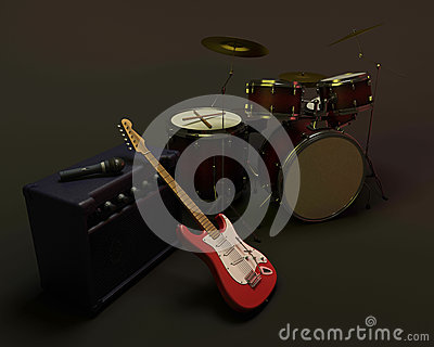 Drum kit and guitar
