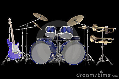 Drum kit guitar and trumpet isolated on a black