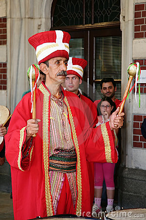 Drum player in traditional Turkish costume Editorial Stock Photo