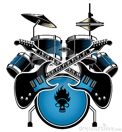 Drum set and guitar