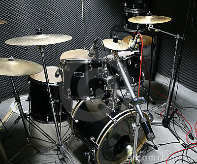 Drum set prepared for recording