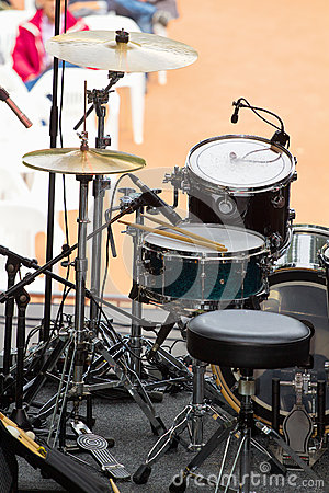 Drum set on stage