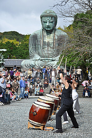 Drum show in front of Big Buddha Editorial Stock Photo
