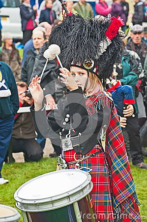 Drummer in action at Braemar Royal Gathering Editorial Photography