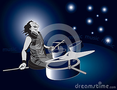 Drummer on a blue background
