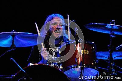 Drummer of Dinero band performs at Sant Jordi Club Editorial Image