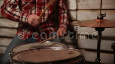 Drummer performing on his drum set. stock footage