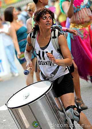 Drummer playing while parades Editorial Photography