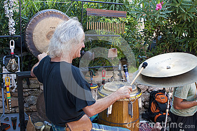 Drummer at Punta Arabi Hippie Market Editorial Image