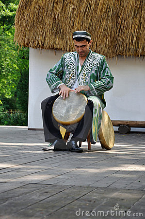 Drummer, Rhytms of Uzbekistan Editorial Stock Image
