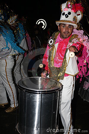 Drummers in costumes at the Grand Carnival Parade Editorial Image