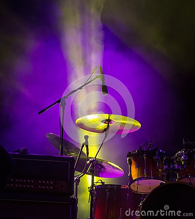 Free Drums. Live Concert And Stage Lights. Royalty Free Stock Photography - 113577467