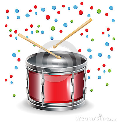 Drums with sticks and celebration mood