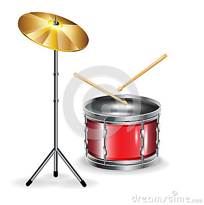 Drums with sticks and cymbal
