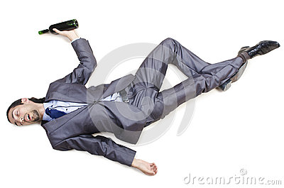 Drunk businessman on  floor